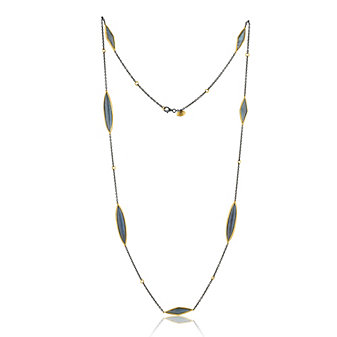 Lika Behar 24K Yellow Gold and Oxidized Sterling Silver Labradorite 7 Station Necklace, 38""