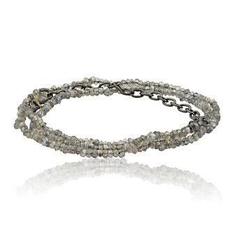 Lika Behar Oxidized Sterling Silver Adjustable Labradorite Bead Necklace
