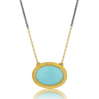 Lika_Behar_24K_Yellow_Gold_and_Oxidized_Sterling_Silver_Cabochon_Turquoise_Necklace,_18.5""