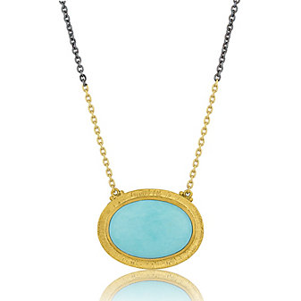 Lika Behar 24K Yellow Gold and Oxidized Sterling Silver Cabochon Turquoise Necklace, 18.5""