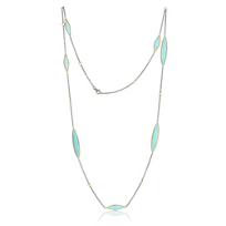 Lika_Behar_24K_Yellow_Gold_and_Oxidized_Sterling_Silver_Turquoise_7_Station_Necklace,_38""