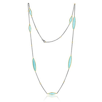 """Lika Behar 24K Yellow Gold and Oxidized Sterling Silver Turquoise 7 Station Necklace, 38"""""""