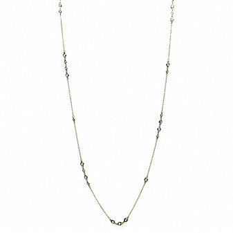 """Freida Rothman Yellow Tone Sterling Silver and Black Rhodium Round CZ By the Yard Necklace, 36"""""""