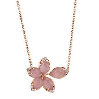 Stephen Webster 18K Rose Gold Pink Opal Doublet & Diamond Flower Necklace