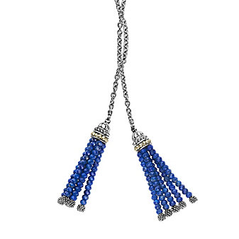 Lagos Lapis Gemstone Tassel Lariat Necklace with 18K Yellow Gold