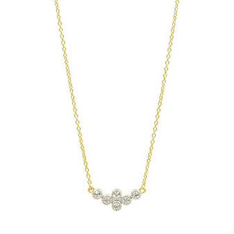freida rothman yellow tone sterling silver clover cluster necklace, 18""