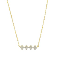 freida_rothman_yellow_tone_sterling_silver_clover_bar_necklace,_18""