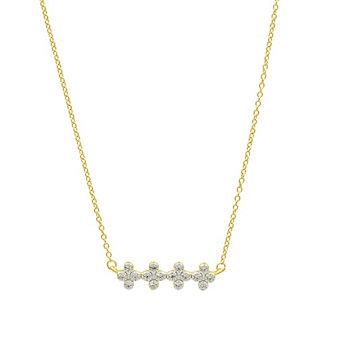 "freida rothman yellow tone sterling silver clover bar necklace, 18"""