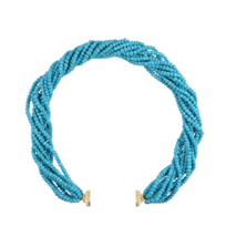 clara_williams_yellow_tone_michael_turquoise_multi_strand_beaded_necklace,_16.5""