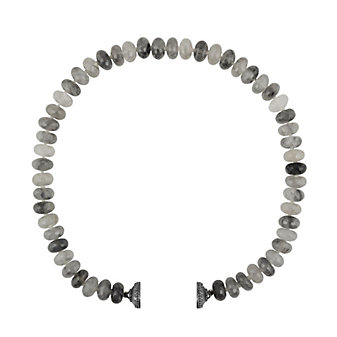 clara williams limited edition gray quartz beaded necklace, 16.5""