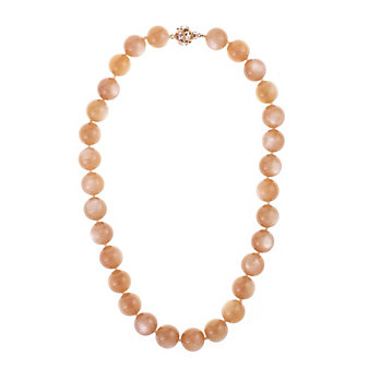 """tara rose tone sterling silver dusty pink moonstone strand with white topaz clasp, 17.5"""""""