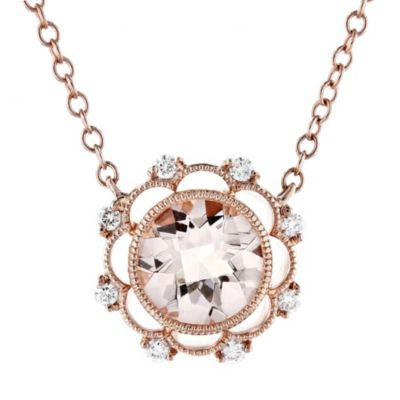 """18k rose gold checkerboard round morganite & diamond scalloped milgrain necklace, 18"""""""