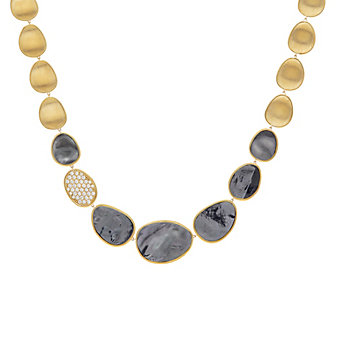 """marco bicego 18k yellow gold black mother of pearl & diamond pave graduated lunaria necklace, 16.5"""""""