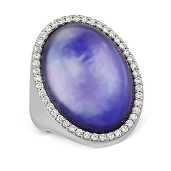 Roberto Coin 18K White Gold Amethyst, Mother of Pearl & Lapis Fantasia Ring
