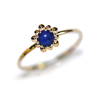 Anzie 14K Yellow Gold Micro Dew Drop Lapis Lazuli Ring
