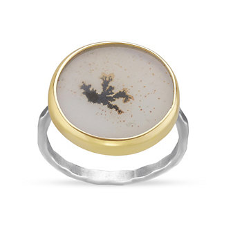 Melissa Joy Manning 14K Yellow Gold and Sterling Silver Round Dendritic Agate Ring