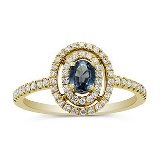 18K Yellow Gold Oval Alexandrite and Round Diamond Halo Ring