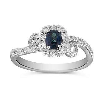 18K White and Rose Gold Alexandrite and Diamond Swirl Halo Ring