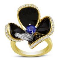 18K_Yellow_&_White_Gold_Black_Onyx,_Sapphire_and_Diamond_Flower_Ring