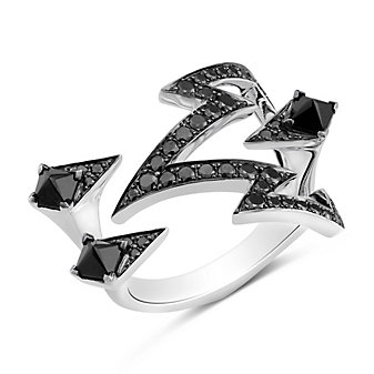 Stephen Webster 18K White Gold Lady Stardust Black Spinel and Diamond Ring
