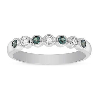 14K White Gold Round Alexandrite and Diamond Bezel Milgrain Ring