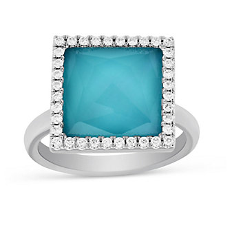 18K White Gold Clear Quartz & Turquoise Doublet Ring With Diamond Accents