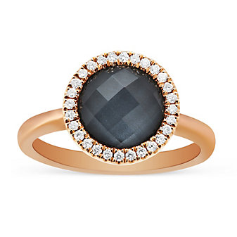 18K Rose Gold Round Clear Quartz & Hematite Doublet Ring With Diamond Accents