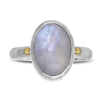 Gurhan Sterling Silver & 24K Yellow Gold Lentil Hue Moonstone Ring