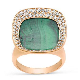 Roberto Coin 18K Rose Gold Carnaby Street Malachite & Diamond Ring