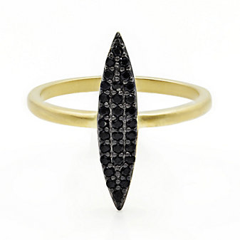 Freida Rothman Sterling Silver Black Pave Marquise Ring, Size 8