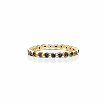 Freida Rothman Sterling Silver Black Beaded Eternity Ring, Size 6