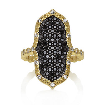 Freida Rothman Sterling Silver Black Pave Pointe Ring, Size 6