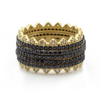 Freida_Rothman_Sterling_Silver_Pave_Harlequin_Spiked_Edge_Set_of_5_Rings,_Size_7