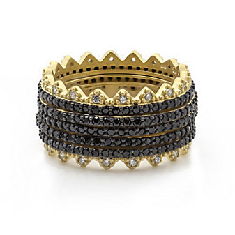 Freida Rothman Sterling Silver Pave Harlequin Spiked Edge Set of 5 Rings, Size 8