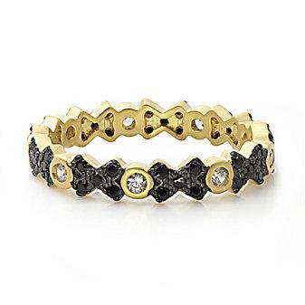Freida Rothman Sterling Silver Black Pave Cross Ring, Size 6
