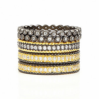 Freida Rothman Sterling Silver Pave Beaded Set of 5 Eternity Rings, Size 8
