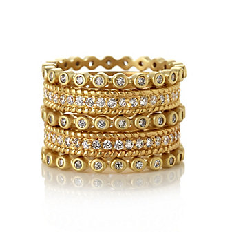 Freida Rothman Sterling Silver Gold-Tone Rope Edge Set of 5 Mixed Eternity Rings, Size 8