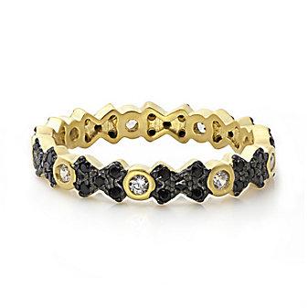 Freida Rothman Sterling Silver Black Pave Cross Ring, Size 7