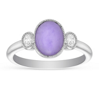 18K_White_Gold_Oval_Lavender_Jade_&_Diamond_Ring