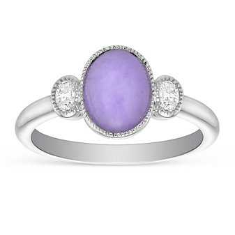 18K White Gold Oval Lavender Jade & Diamond Ring