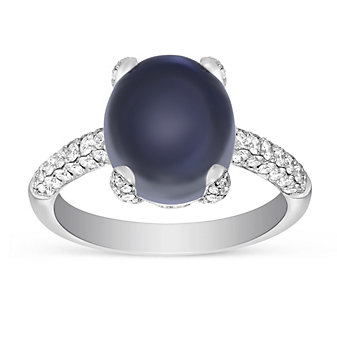 14K White Gold Oval Cabochon Moonstone and Round Diamond Ring