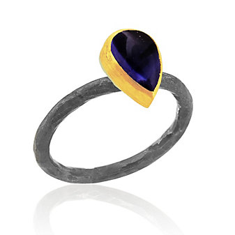 Lika Behar 24K Yellow Gold and Oxidized Sterling Silver Pear Shaped Cabochon Iolite Bezet Set Ring
