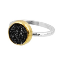 Gurhan_Sterling_Silver_&_24K_Yellow_Gold_Round_Black_Drusy_Quartz_Ring