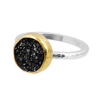 Gurhan Sterling Silver & 24K Yellow Gold Round Black Drusy Quartz Ring