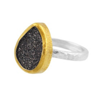 Gurhan_Sterling_Silver_&_24K_Yellow_Gold_Teardrop_Black_Drusy_Quartz_Ring