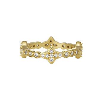 Freida Rothman Yellow Tone Sterling Silver Starburst Milgrain Eternity Ring, Size 7