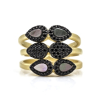 Freida_Rothman_Yellow_Tone_Sterling_Silver_Black_Rhodium_Teardrop_Station_Set_of_3_Rings,_Size_7