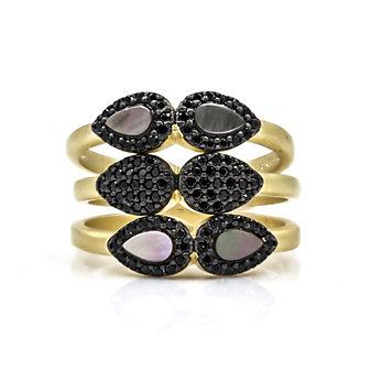 Freida Rothman Yellow Tone Sterling Silver Black Rhodium Teardrop Station Set of 3 Rings, Size 7