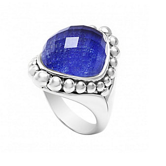 Lagos Sterling Silver Maya Lapis Doublet Dome Ring, Size 7