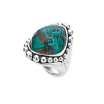 Lagos Sterling Silver Chrysocolla Doublet Maya Statement Ring